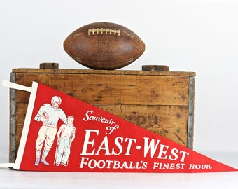Vintage Football Pennant, 1950's Shriners East-West Football Finest Hour Pennant, Old Football Pennant, 1950's Football Pennant, Sports
