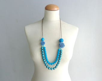 Turquoise blue flower Statement necklace longer style, colorful necklace