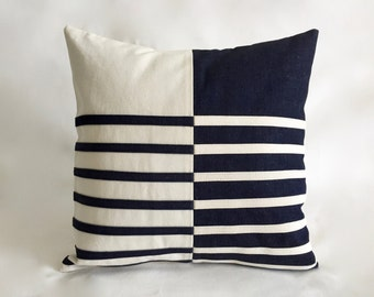 Outdoor Indoor Modern Colorblock Pillows Navy Blue Denim and Canvas Stripes / Nautical Pillows for Boat Couch By Renaissance Cushions
