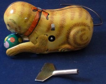Vintage Blic Rolling Cat Tin Wind Up Toy, 1960s