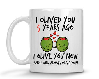 5th Wedding Anniversary Gift For Him - Personalized Anniversary Mug - 5th Anniversary Gift For Wife - 5 year Anniversary Gift For Husband