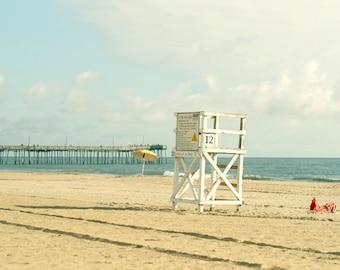 Lifeguard chair beach photography, seashore art print, teal beige aqua coastal wall art print 24x36, nautical beach decor, Virginia Beach