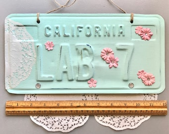 Vintage Shabby Chic Upcycled Repurposed California License Plate Wall Decoration