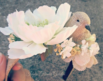 Burlap headband, burlap bird and flower headband, bridal accessories, bride headband