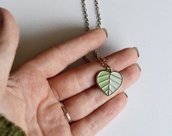 Leaf Necklace | Heart Leaf Silver Necklace