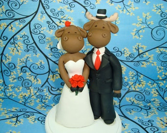 Customized Moose Wedding Cake Topper