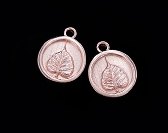 2 of 925 Sterling Silver Rose Gold  Vermeil Style Bodhi Printed Charms 10.7 mm. :pg0298