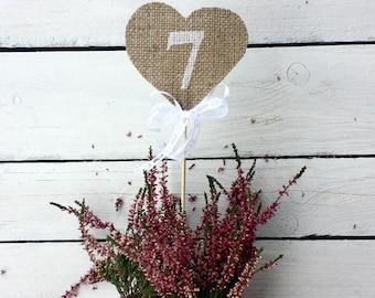 Burlap heart table numbers