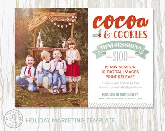 Christmas Mini Session template, Holiday Photography, Holiday Marketing, Photoshop Template, Instant Download, Milk and Cookies, Cocoa Minis