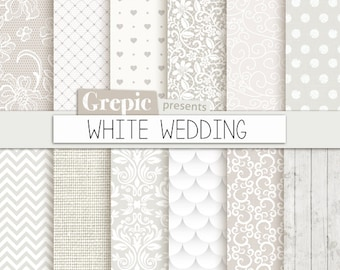 "Wedding digital paper: ""WHITE WEDDING"" with romantic white wedding bridal patterns for wedding invites, save the date cards, scrapbooking"