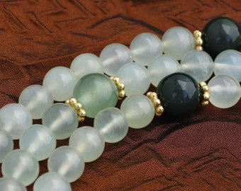 Green Serpentine Mala Necklace w Jade, Moss Agate, Vermeil - Buddhist Prayer Beads Yoga Jewelry