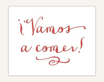Vamos a comer print, Spanish Kitchen decor, typography, Let's Eat