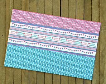 Girl Birthday Paper Placemats in Pink and Blue - Set of 8