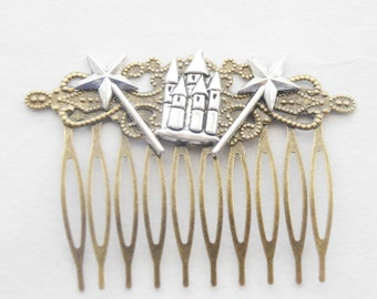 Princess Hair Clip, Princess Gifts, Castle Hair Clip, Fantasy Hair Clip, Castle Hair Comb, Magic Wand Hair Accessories, Medieval Hair, gifts
