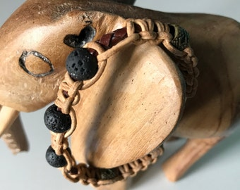 Hand knotted leather bracelet with lava stones