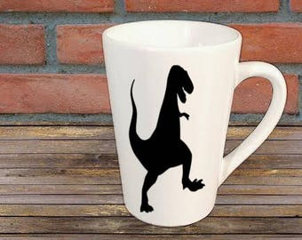 T Rex Dinosaur Mug Coffee Cup Gift Home Decor Kitchen Bar Gift for Her Him Any Color Personalized Custom Jenuine Crafts