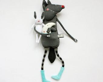 Wolf & Bunny stuffed toy set,