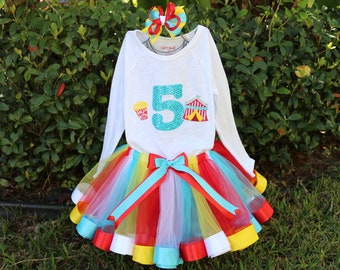 Circus Birthday Girl Outfit, Sparkle Age Name + Red, Blue, White and Yellow Tulle & Satin Ribbon Edge Trim Swirl Tulle Skirt + Hair Bow