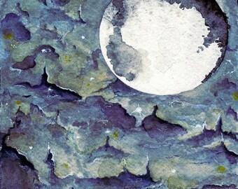 Space Galaxy Watercolor Painting Art giclee print blue nebula fantasy art painting purple moon planets