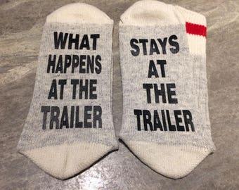 What Happens At The Trailer ... Stays At The Trailer (Word Socks - Funny Socks - Novelty Socks)