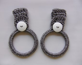 crocheted hanging towel holder set of 2, gray kitchen towel ring, hand towel holder, crochet kitchen decor, RV towel holder, towel holders