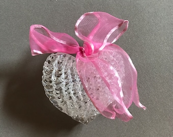 Vintage Spun Glass Heart Ornament
