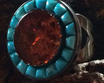 Large Vintage Sterling Silver Turquoise & Amber Ring  - Size 7 1/2