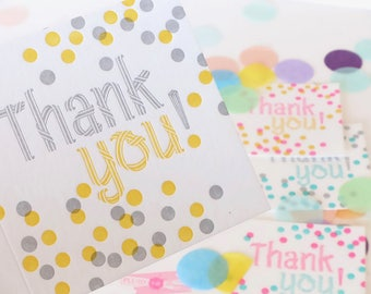 Thank you card, bright cheerful confetti, letterpress greeting card, for all ages, with thanks, bright, neon color thank you card set,