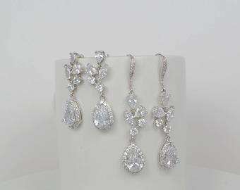 Bridal Cubic Zirconia Crystal Earrings, Silver Ear Wires Stud Tear Drop Earrings, Wedding Jewelry, Ester - Ships in 1-3 Business Days