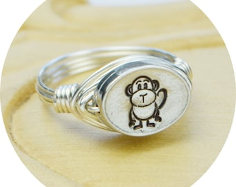 Monkey Ring-Sterling Silver Filled Wire Wrapped Ring with Hand Stamped Pewter Bead- Any Size 4, 5, 6, 7, 8, 9, 10, 11, 12, 13, 14