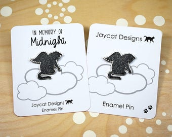 Angel Cat Magnet, Memorial Cat Magnet, Cat Memorial Magnet, Black Cat Magnet, Black Cat Memorial, Guardian Angel Magnet, Enamel Magnet
