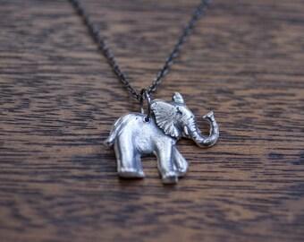 momma elephant necklace - elephant necklace - handmade elephant necklace - sterling silver elephant - elephant charm - elephant pendant