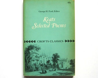 Vintage Book - Keats: Selected Poems - 1950 - Crofts Classics, Paperback book, Soft cover, Small book, Poetry, Odes, Romantic, Collectible