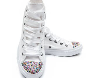 Converse White High Top with Multi color Swarovski Crystals