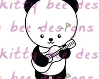 Ukulele Panda Digital Stamp