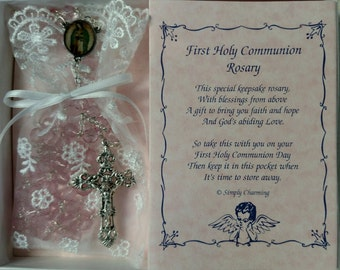 Pink Glass Bead First Communion Rosary