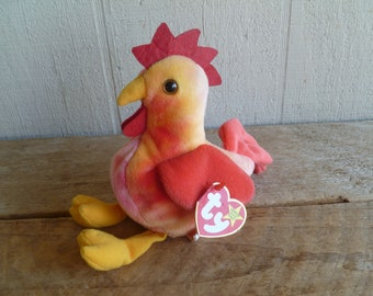 "TY Beanie Babies Plush Rooster  ""Strut""   with Tags 1996"