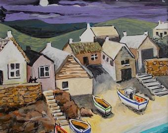 Fishing Village in the Moonlight