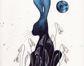 """Snowdrop and the Moon 8.5""""x11"""" ORIGINAL watercolour painting"""