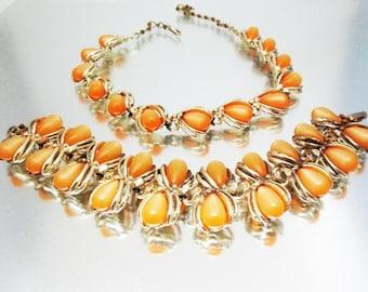 Moonglow  Necklace Bracelet Unused Soft Orange Teardrops Orange Necklace Orange Bracelet