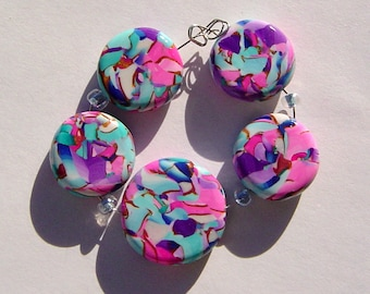 Purple Pink Mosaic Artisan Polymer Clay Bead Set with Focal and 4 Beads