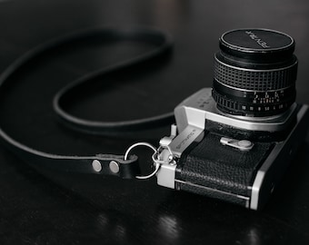 Skinny Leather Camera Strap - Black - Mirrorless Camera Strap - Film Camera Strap