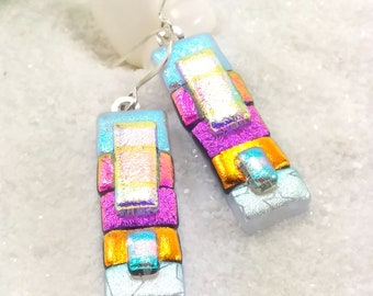 Fused glass earrings, dichroic Earrings, dichroic glass fusion jewelry, handmade jewelry, pink earrings, statement earrings, fused glass art