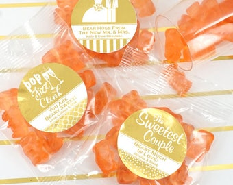 Foil Champagne Gummy Bears, Personalized Foil Gummy Bears, Party Favors - Set of 20