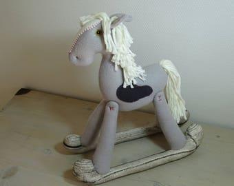 Fleece gray rocking horse