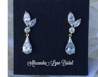 Gold Bridal Earrings, Crystal Wedding Earrings, Bridesmaids, Champaign, Mother of the Bride, Mother of the Groom, Cubic Zirconia, gift