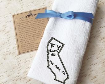 Flour Sack Towel California - Custom Livestock Brand - Western Country Kitchen Decor - Embroidered Towel - Kitchen Towel - Farmhouse Kitchen