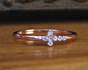 Dainty Vintage Rose Gold and CZ Cross Stacking Ring