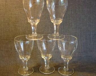 Set of 5 Vintage Cordial or Apertif Glasses, Fluted Liqueur Glasses, Cordial Glasses