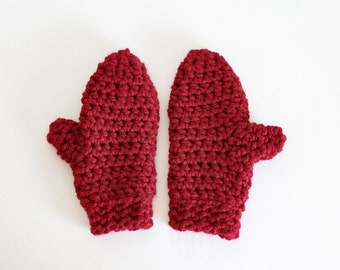 Chunky Mittens Crochet Winter Gloves   THE APPLETONS in Cranberry